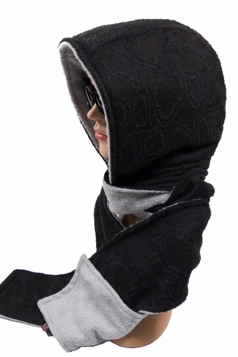 Kleinesbild - Kapuzenschal ♥Eisbär♥ Kapuze und Schal in einem, in schwarz und hellgrau ♥ statt Mütze windgeschützt, kuschelig und warm