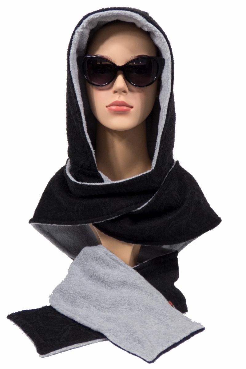 - Kapuzenschal ♥Eisbär♥ Kapuze und Schal in einem, in schwarz und hellgrau ♥ statt Mütze windgeschützt, kuschelig und warm - Kapuzenschal ♥Eisbär♥ Kapuze und Schal in einem, in schwarz und hellgrau ♥ statt Mütze windgeschützt, kuschelig und warm