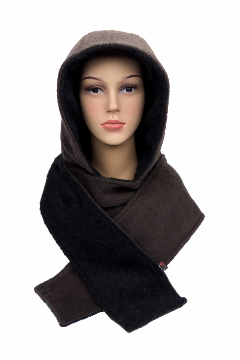 Kleinesbild - Kapuzenschal ♥Braunbär♥ Kapuze XL und Schal in einem, in schwarz und braun ♥ statt Mütze windgeschützt, kuschelig und warm
