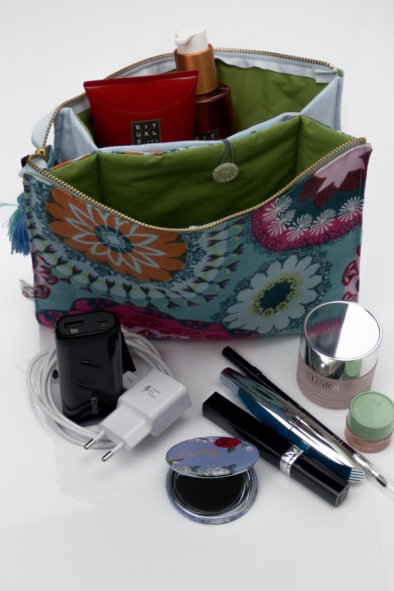 Kleinesbild - Kosmetiktasche ♥MANDALA♥ in hellblau mit 3 Fächern ♡ Taschenorganizer für Kosmetik und mehr
