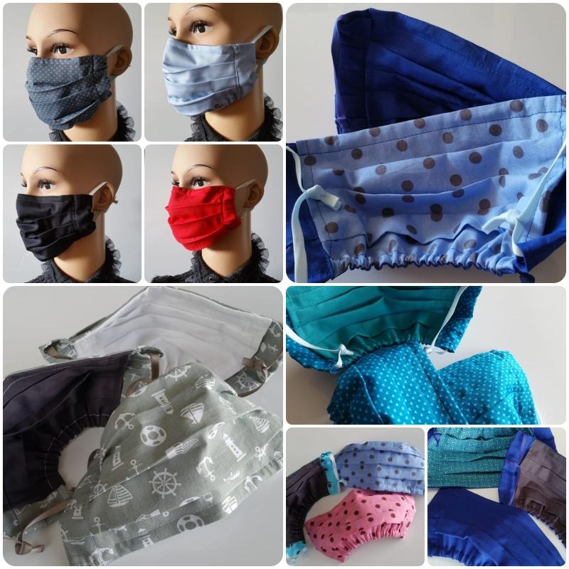 Kleinesbild - Stoffmasken nach Wunsch aus 100 % Baumwolle, mit Nasendraht, doppellagig, Gummibänder anpassbar, bei 60°C waschbar ☆ Versand kostenlos innerhalb DE