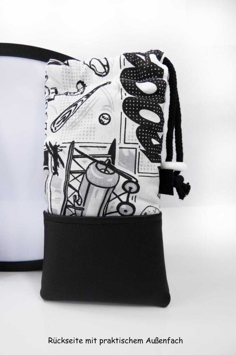 Kleinesbild - Handytasche Brillenetui ♥ KAWUMM ♥ im Comic-Stil schwarz-weiß Krimi