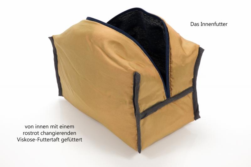 Kleinesbild - Kulturtasche ♥ Oriental ♥ für Sie und Ihn mit feinem Schimmer in dunkelblau-gold und curryfarbenem Kunstleder ♥ kostenloser Versand ♥