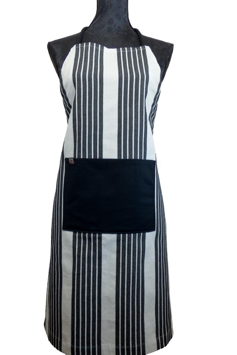 - Schürze FLEXI ♡ aus Baumwolle weiß/schwarz gestreift mit großer Tasche - Schürze FLEXI ♡ aus Baumwolle weiß/schwarz gestreift mit großer Tasche