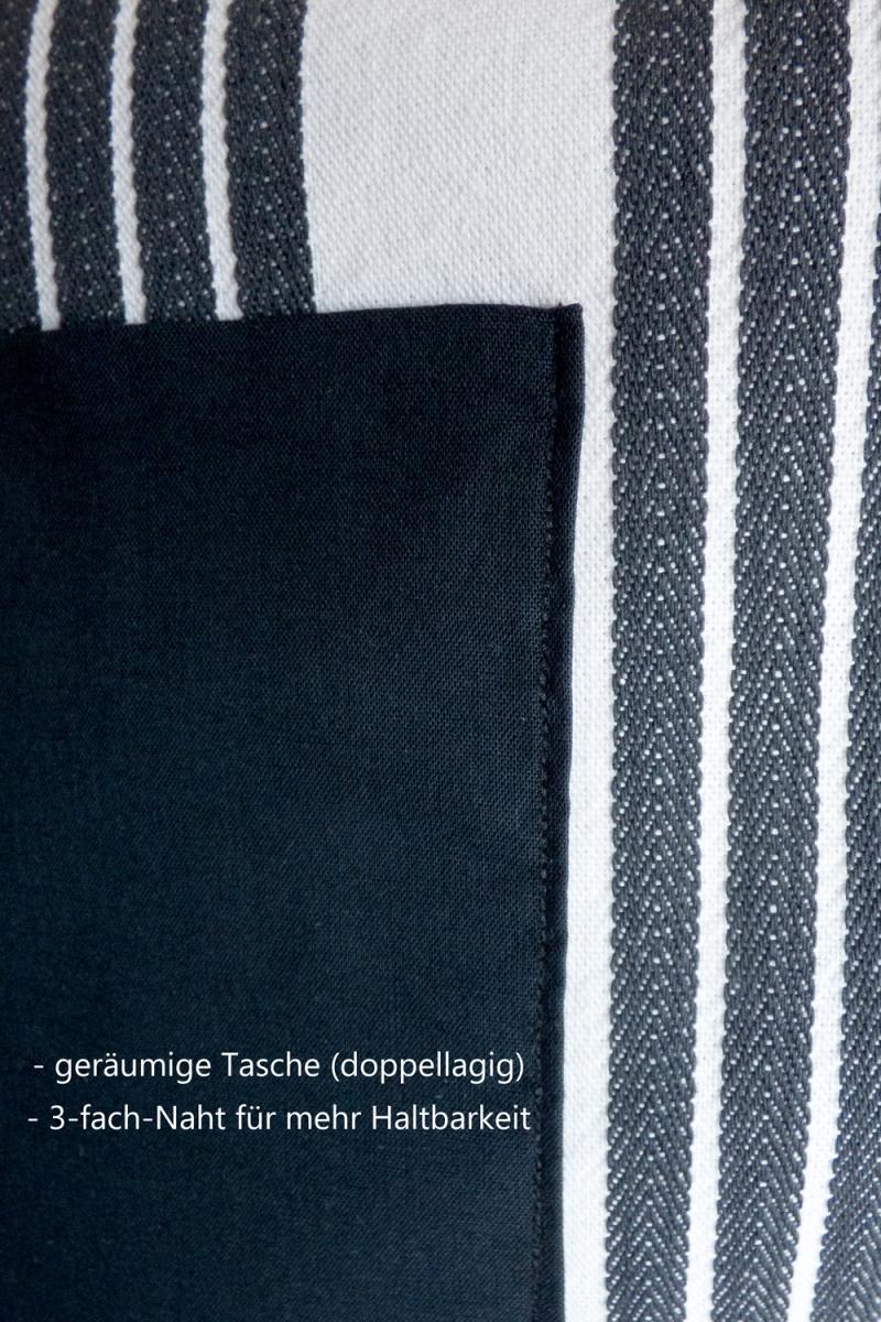 Kleinesbild - Schürze FLEXI ♡ aus Baumwolle weiß/schwarz gestreift mit großer Tasche