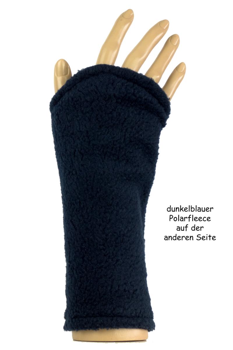Kleinesbild - Armstulpen zum Wenden in Blau aus Strick und Fleece für Erwachsene