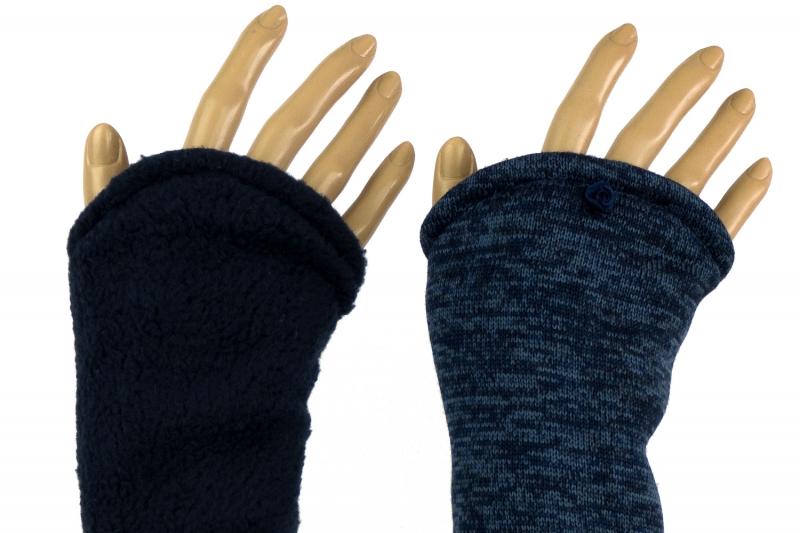 - Armstulpen zum Wenden in Blau aus Strick und Fleece für Erwachsene  - Armstulpen zum Wenden in Blau aus Strick und Fleece für Erwachsene