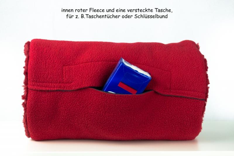 Kleinesbild -  Erwachsenen-Muff ♥ ROSENROT ♥ aus rotem Plüsch mit Innentasche und Baumwollkordel