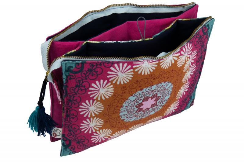 Kleinesbild - Kosmetiktasche ♥MANDALA♥ in pink mit 3 Fächern ♡ Taschenorganizer für Kosmetik und mehr