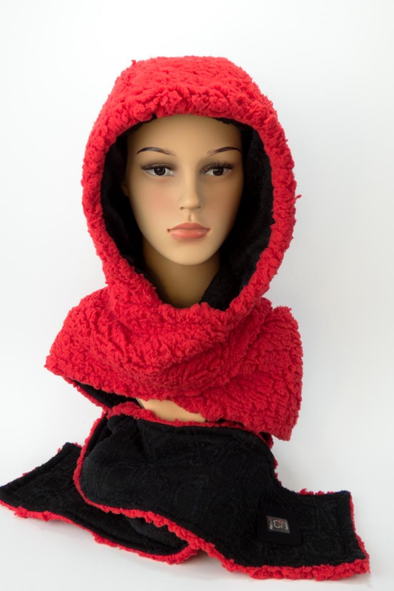 Kleinesbild - Kapuzenschal ♥Teddyplüsch♥ Kapuze und Schal in einem, in schwarz und rot ♥ statt Mütze windgeschützt, kuschelig und warm