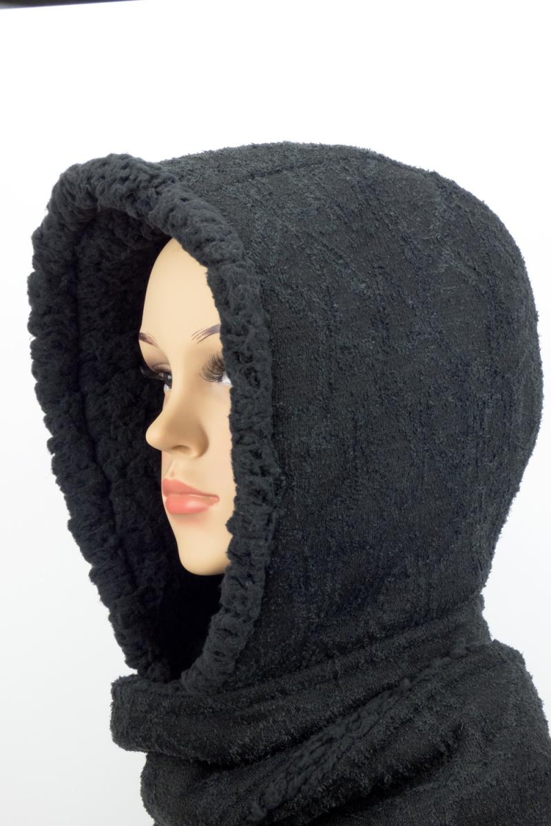 Kleinesbild - Kapuzenschal ♥Teddyplüsch♥ Kapuze und Schal in einem, schwarz ♥ statt Mütze windgeschützt, kuschelig und warm
