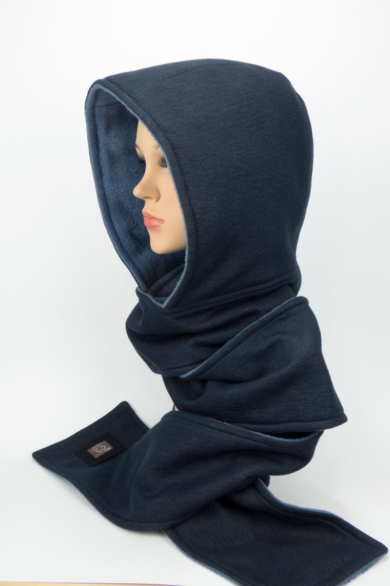 Kleinesbild - ★UNIKAT★ Kapuzenschal ♥JEANS♥ Kapuze und Schal in einem, in Blautönen ♥ statt Mütze windgeschützt, kuschelig und warm