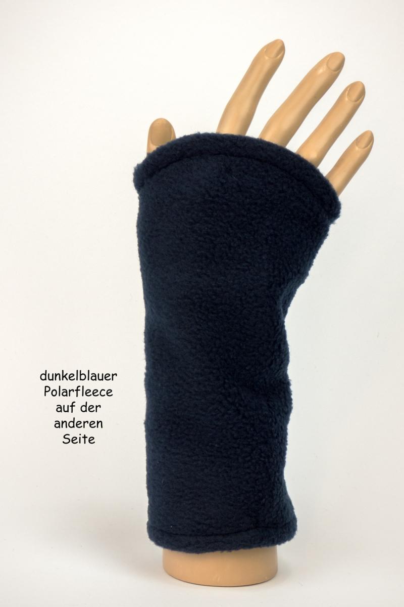 Kleinesbild - Armstulpen zum Wenden in schwarz und blau aus kuscheligem Fleece für Erwachsene ☆ Versand kostenlos innerhalb DE
