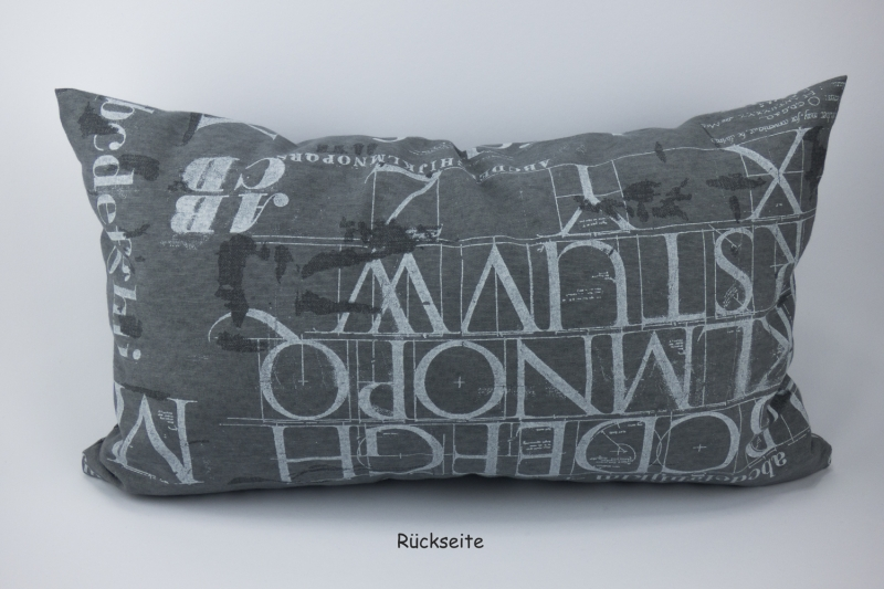 Kleinesbild - Kissenhülle ♥ ABC ♥ 30 x 50 cm mit Reißverschluss grau-weiß ☆ Kissen mit Buchstaben ohne Inlett