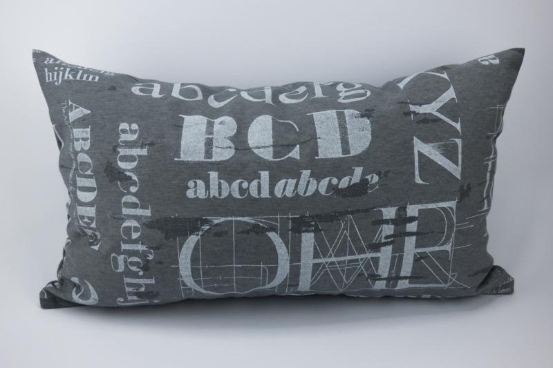 - Kissenhülle ♥ ABC ♥ 30 x 50 cm mit Reißverschluss grau-weiß ☆ Kissen mit Buchstaben ohne Inlett - Kissenhülle ♥ ABC ♥ 30 x 50 cm mit Reißverschluss grau-weiß ☆ Kissen mit Buchstaben ohne Inlett
