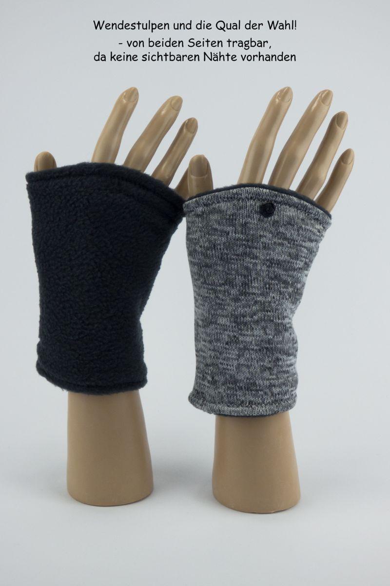 Kleinesbild - Pulswärmer zum Wenden in Grautönen für Erwachsene ☆ kurze Armstulpen mit Polarfleece