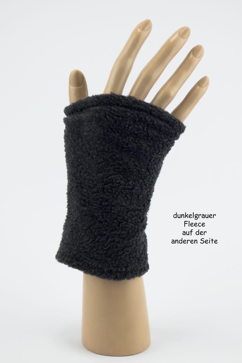 Kleinesbild - Pulswärmer zum Wenden in Grautönen für Erwachsene ☆ kurze Armstulpen mit Teddyfleece