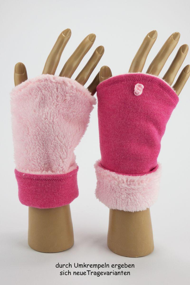 Kleinesbild - Armstulpen zum Wenden in Rosa Pink für Erwachsene ☆ Armstulpen mit Wellness-Fleece