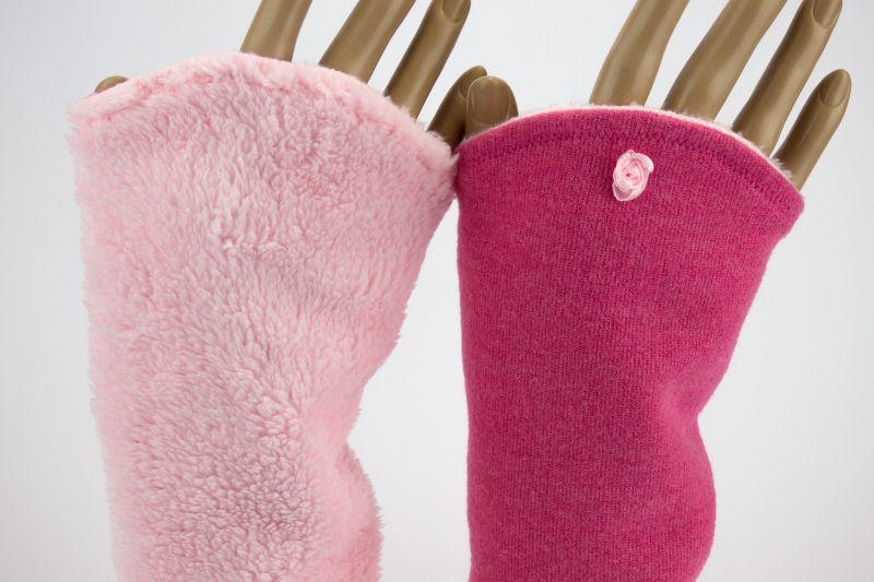 - Armstulpen zum Wenden in Rosa Pink für Erwachsene ☆ Armstulpen mit Wellness-Fleece  - Armstulpen zum Wenden in Rosa Pink für Erwachsene ☆ Armstulpen mit Wellness-Fleece