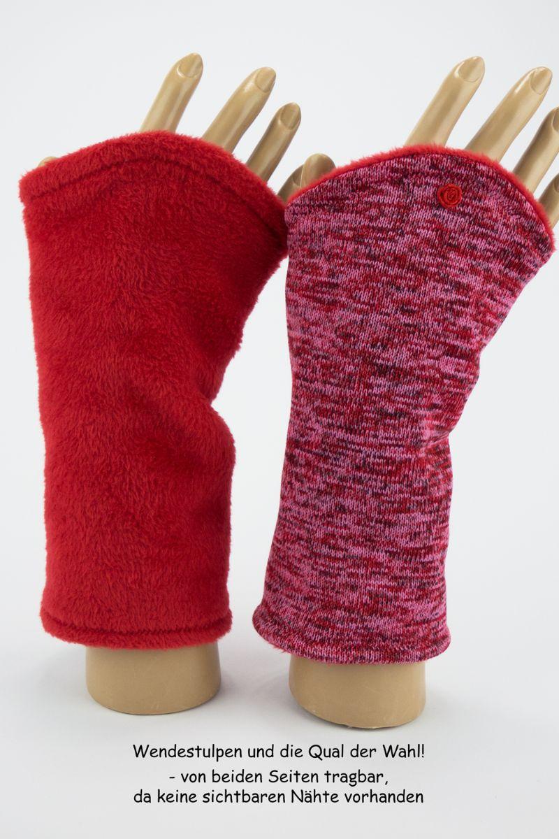 Kleinesbild - Armstulpen zum Wenden in Rottönen für Erwachsene ☆ Armstulpen mit Wellness_Fleece ☆ Versand kostenlos innerhalb DE