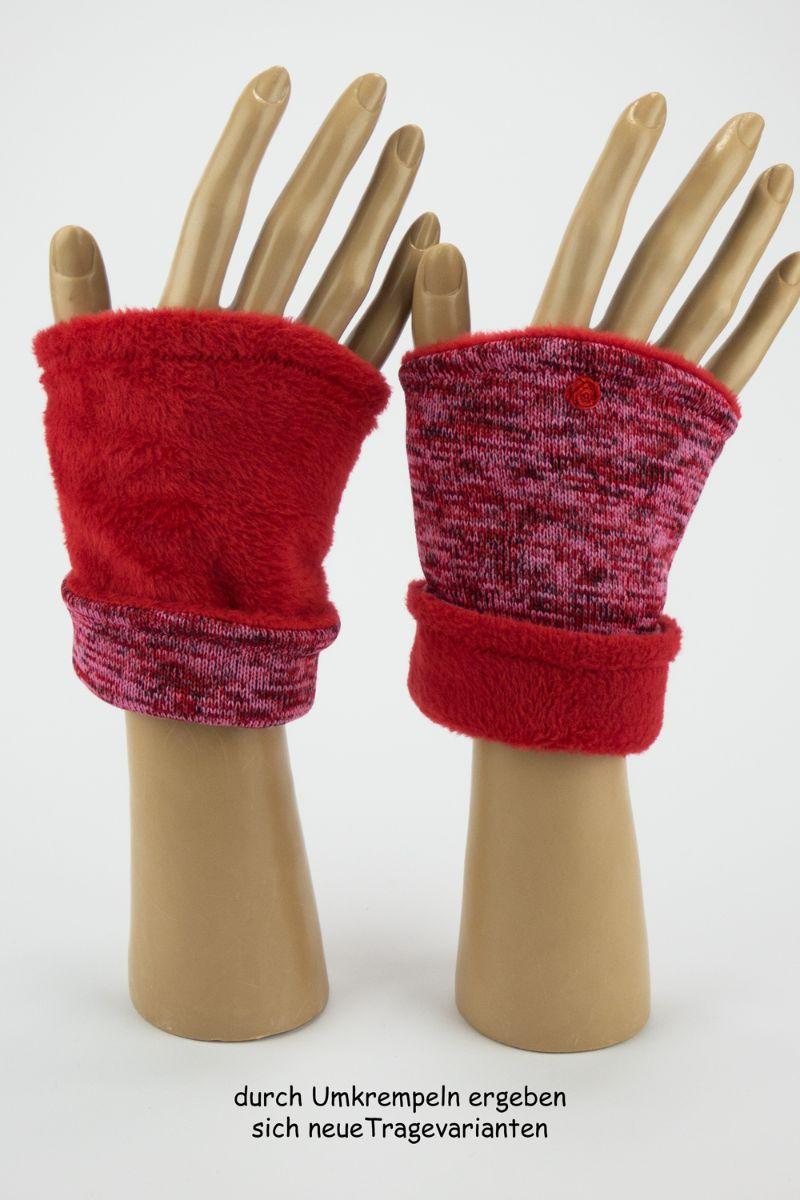 Kleinesbild - Pulswärmer zum Wenden in Rottönen für Erwachsene ☆ kurze Armstulpen mit Polarfleece ☆ Versand kostenlos innerhalb DE