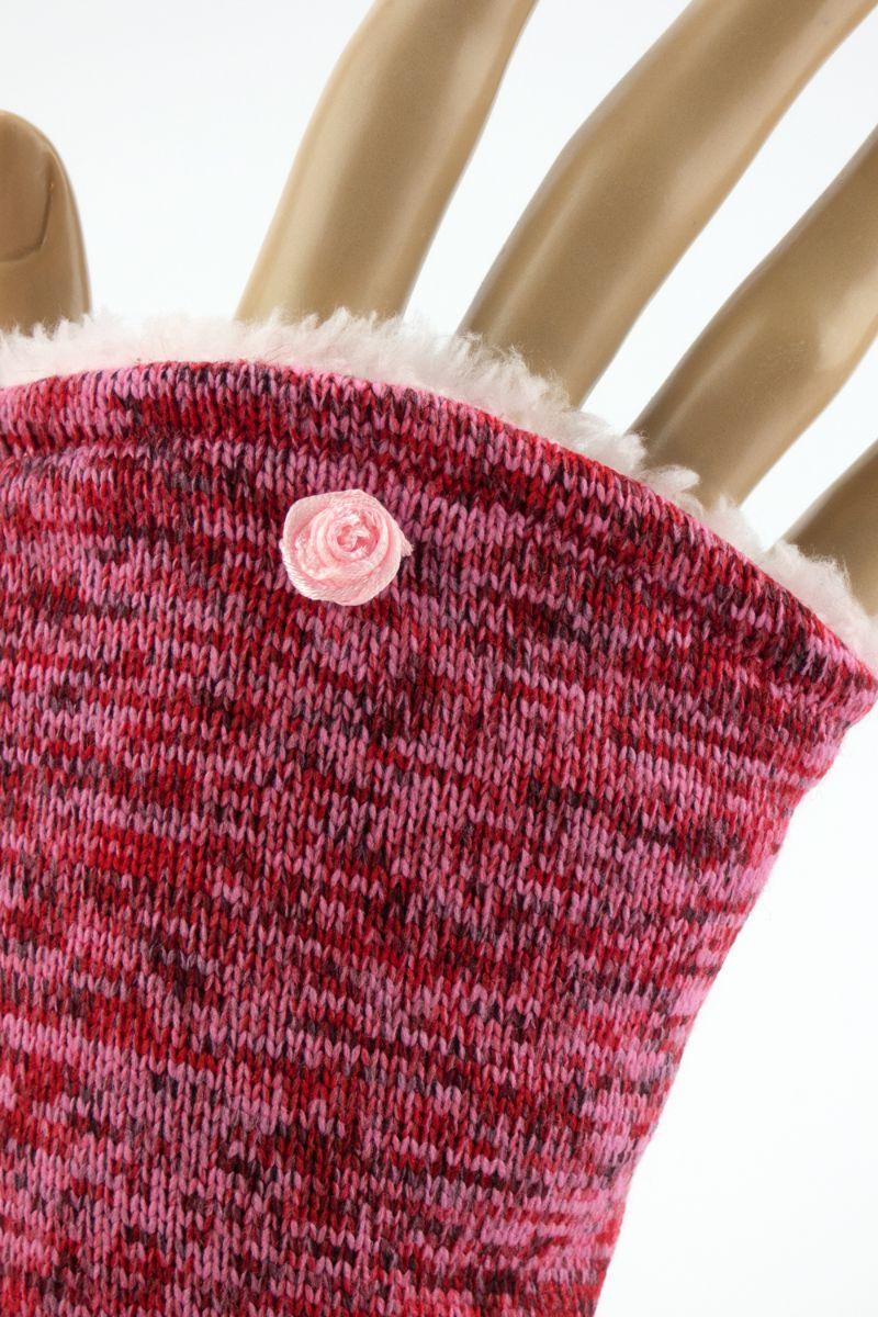 Kleinesbild - Armstulpen zum Wenden in Rot-Rosé für Erwachsene ☆ Armstulpen mit Wellness-Fleece ☆ Versand kostenlos innerhalb DE