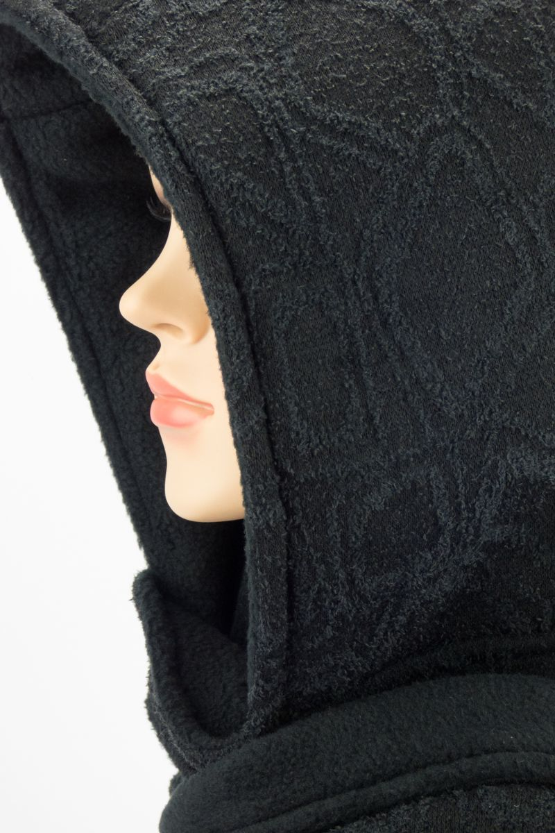 Kleinesbild - Kapuzenschal ♥BlackMoon♥ Kapuze und Schal in einem, schwarz ♥ statt Mütze windgeschützt, kuschelig und warm