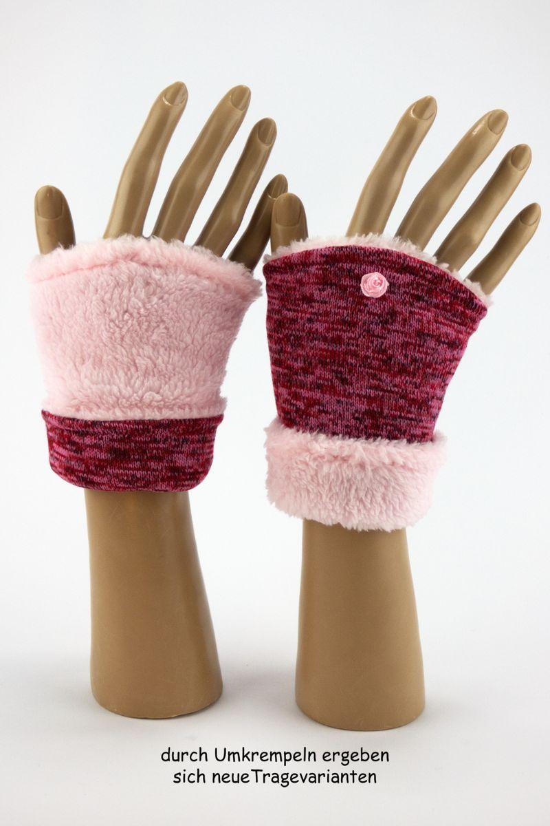 Kleinesbild - Pulswärmer zum Wenden in Rot-Rosé für Erwachsene ☆ kurze Armstulpen mit Wellness-Fleece