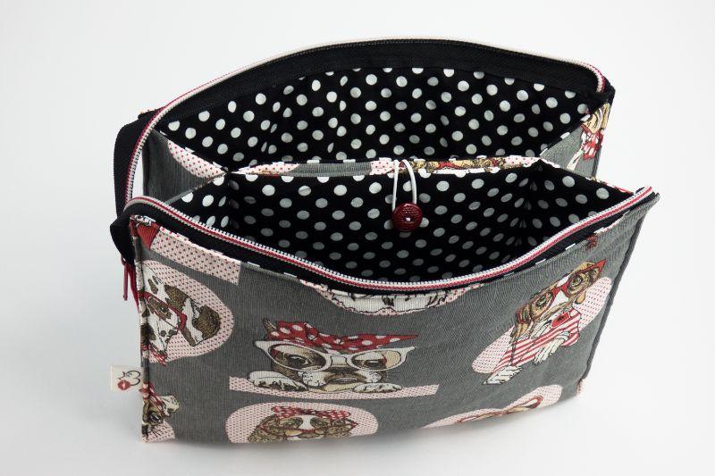 Kleinesbild - Kosmetiktasche ♥Wauzi♥ mit 3 Fächern und niedliche Hunde ohne Ende ♡ Taschenorganizer für Kosmetik und mehr
