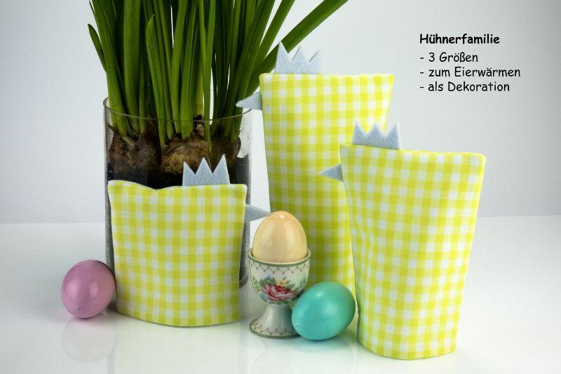 Kleinesbild - Eierwärmer-Set HÜHNERFAMILIE 3er-Set ♡ grün-weiß-karierte Baumwolle ♡ auch eine tolle Dekoration ♡ nicht nur für Ostern