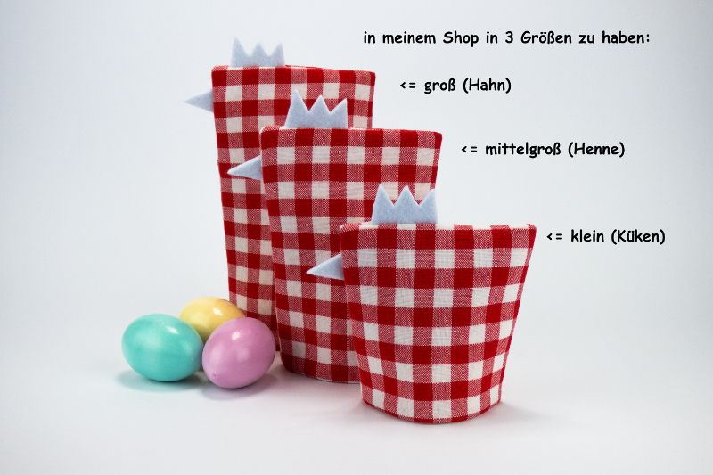 Kleinesbild - Eierwärmer KÜKEN ♡ rot-weiß-karierte Baumwolle ♡ auch eine tolle Dekoration ♡ nicht nur für Ostern
