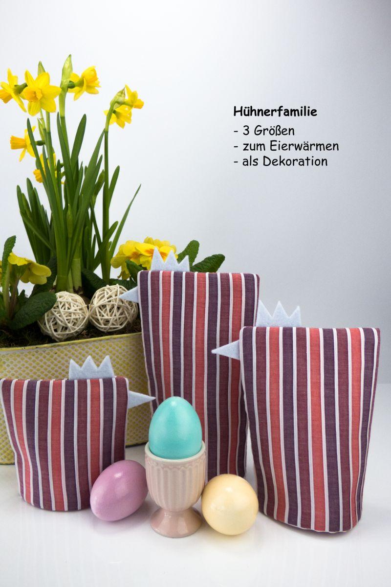 Kleinesbild - Eierwärmer-Set HÜHNERFAMILIE 3er-Set ♡ gestreifte Baumwolle in Pastelltönen ♡ auch eine tolle Dekoration ♡ nicht nur für Ostern