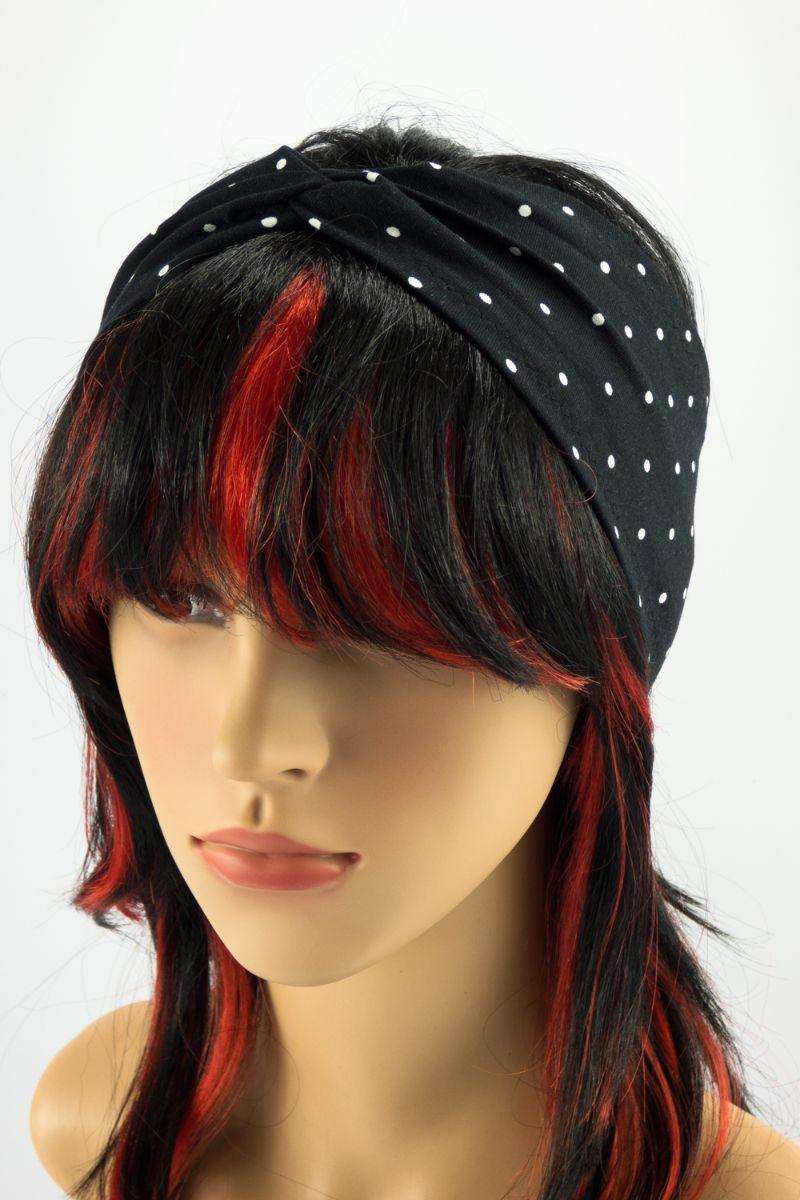 Kleinesbild - Stirnband und Scrunchie im Set ♥ Schwarz mit weißen Punkten ♡ Rockabilly Style