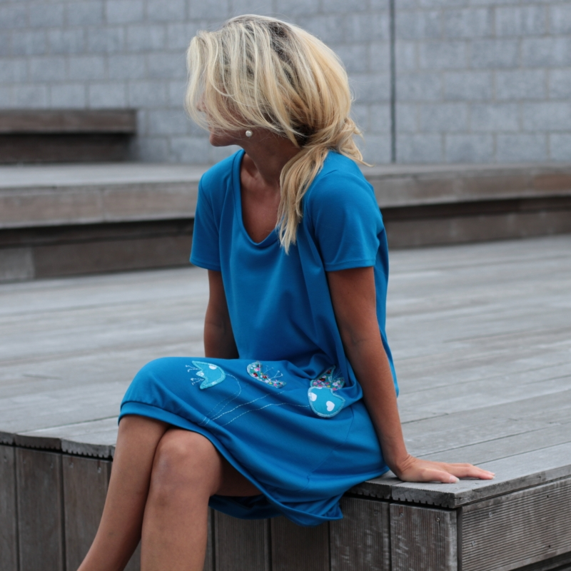 1c263102c8e5b5 Kleid türkis, Kleid nach Maß, Sommerkleid, knielanges Kleid, Kleid mit  Blumen