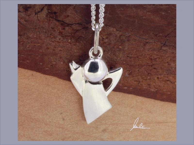 - Anhänger Engel  Handarbeit in Silber matt und polierte Oberfläche kaufen - Anhänger Engel  Handarbeit in Silber matt und polierte Oberfläche kaufen