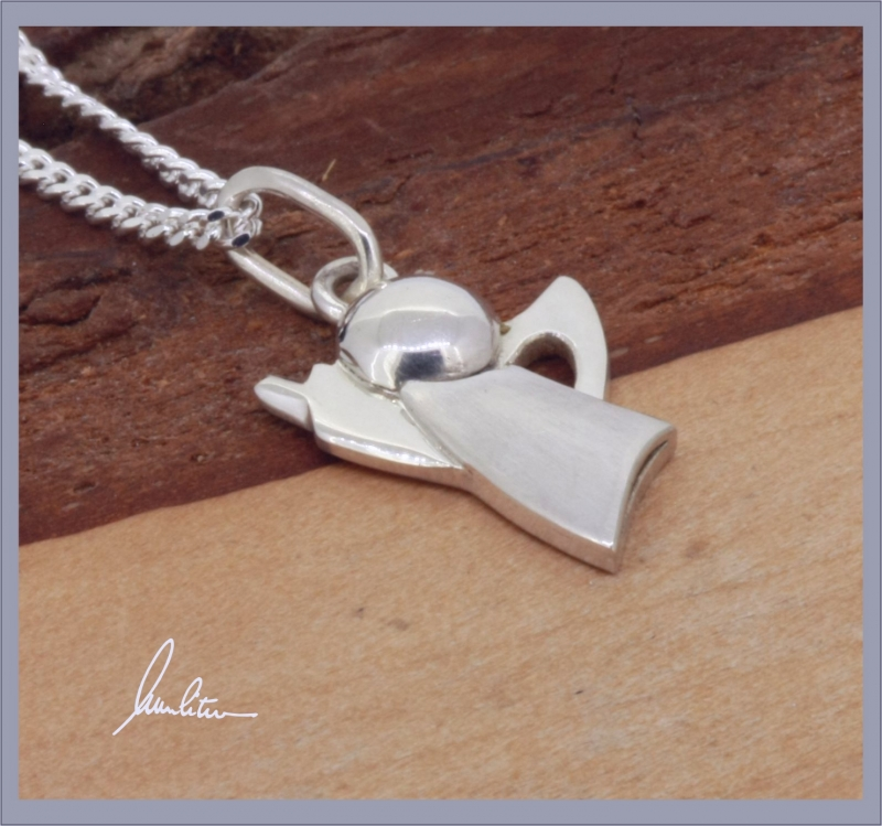 Kleinesbild - Anhänger Engel  Handarbeit in Silber matt und polierte Oberfläche kaufen