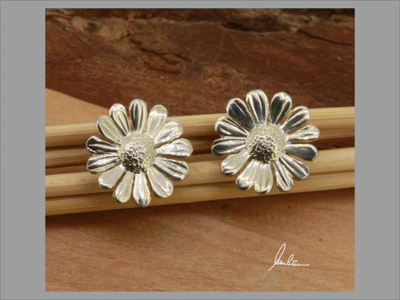 - Ohrringe  Handarbeit in Silber kleines Gänseblümchen, kleine Blüte kaufen - Ohrringe  Handarbeit in Silber kleines Gänseblümchen, kleine Blüte kaufen