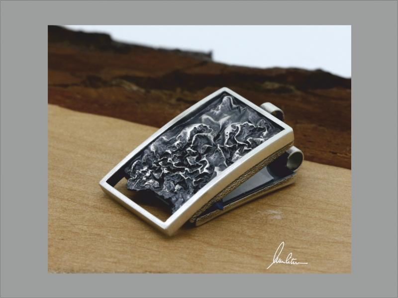 Kleinesbild - Anhänger zum Öffnen Medaillon Silber Struktur