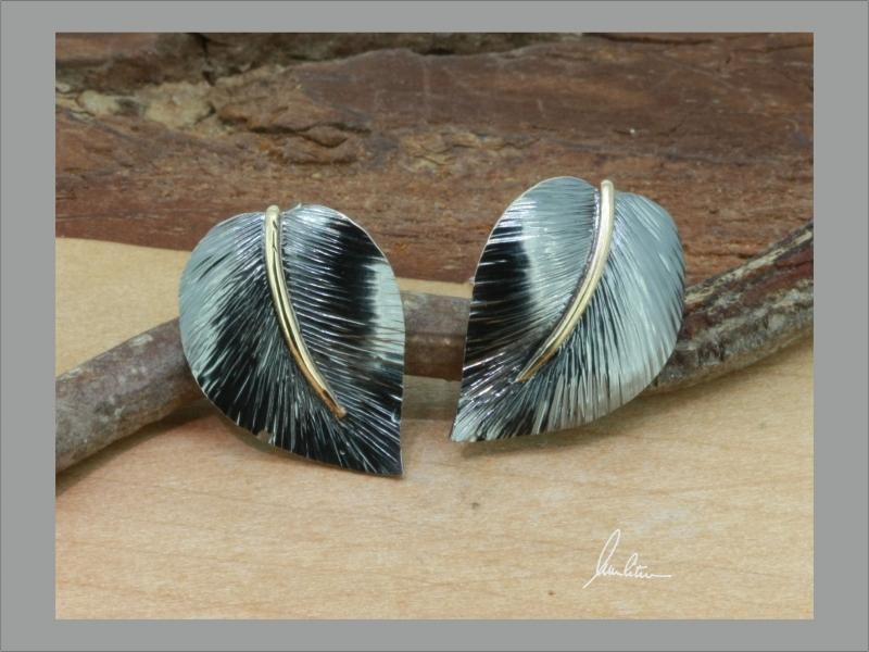 - Ohrringe, Ohrstecker  aus Silber in Handarbeit Blatt   - Ohrringe, Ohrstecker  aus Silber in Handarbeit Blatt