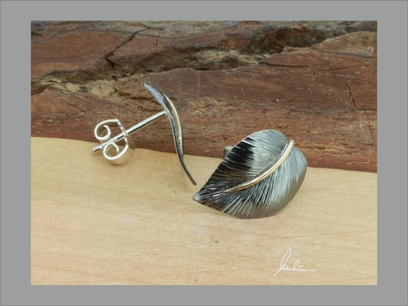 Kleinesbild - Ohrringe, Ohrstecker  aus Silber in Handarbeit Blatt