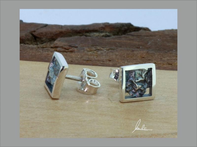 Kleinesbild - Ohrringe Handarbeit in Silber poliert und strukturiert