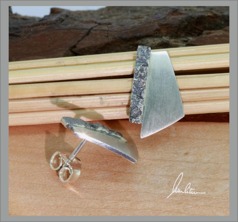Kleinesbild - Ohrringe Handarbeit in Silber matt und strukturiert