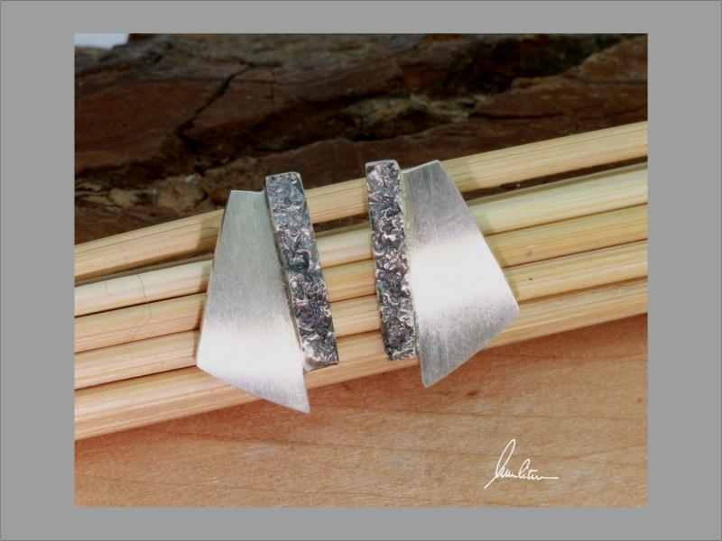 - Ohrringe Handarbeit in Silber poliert und strukturiert    - Ohrringe Handarbeit in Silber poliert und strukturiert