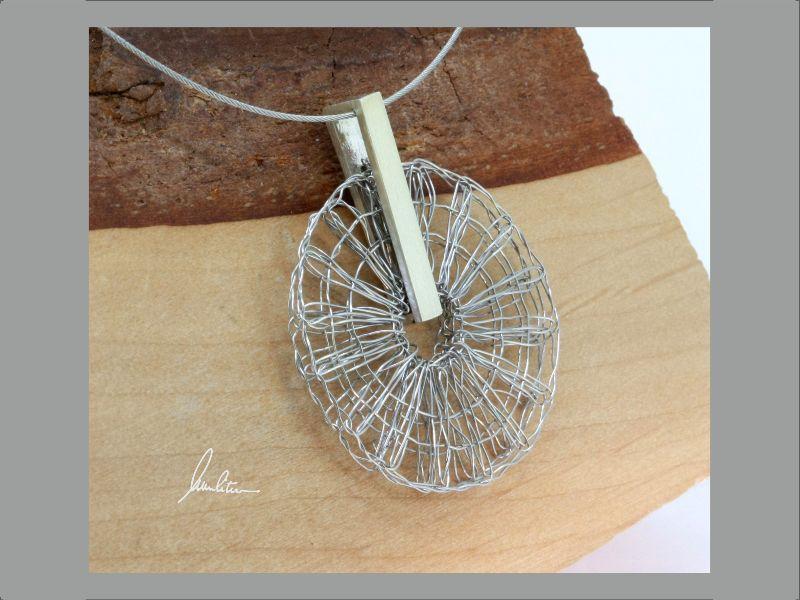 - Anhänger Klöppelschmuck und Spinnweben in Silber und Edelstahl in Handarbeit hergestellt - Anhänger Klöppelschmuck und Spinnweben in Silber und Edelstahl in Handarbeit hergestellt