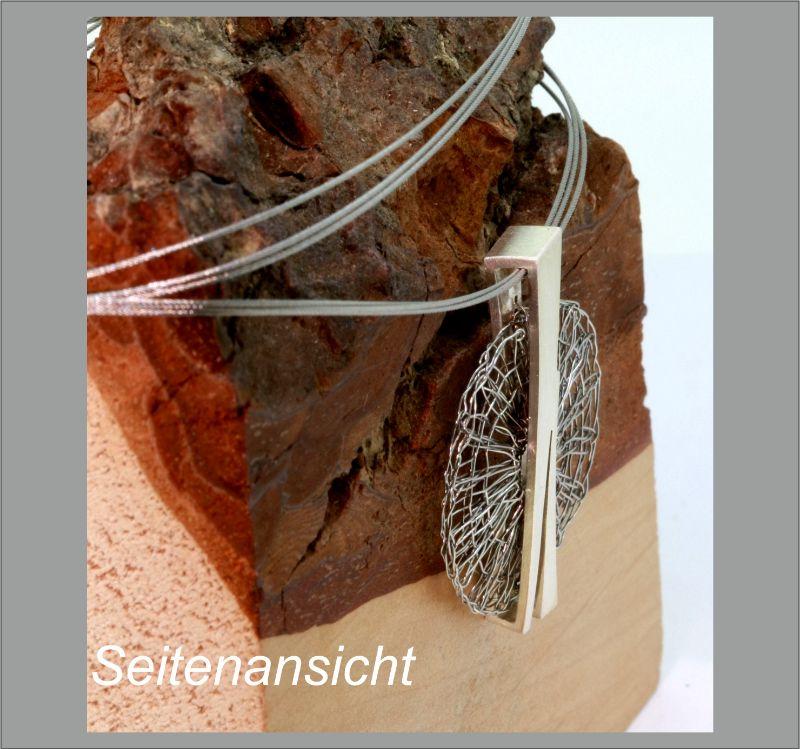Kleinesbild - Anhänger Klöppelschmuck sehr filigran in Silber und Edelstahl in Handarbeit hergestellt