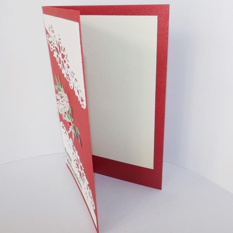 Kleinesbild - Weihnachtskarte in Rot-Weiß mit deutschem Text