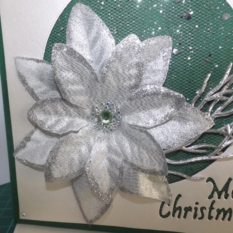 Kleinesbild - Weihnachtskarte in Grün mit Silbernem Weihnachtsstern