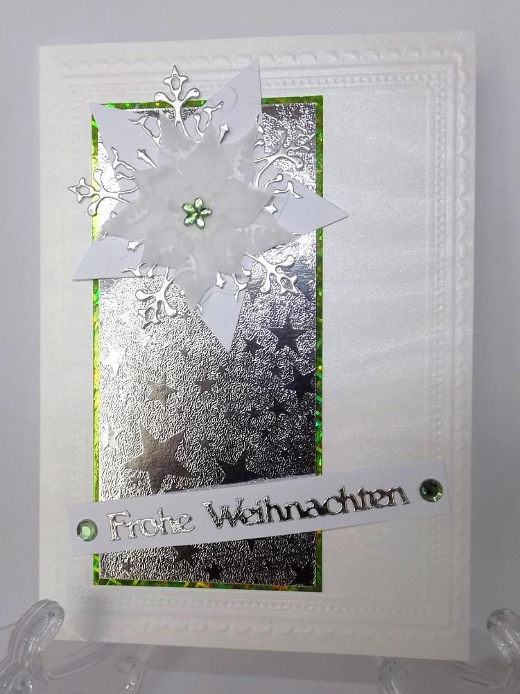 - Weihnachtskarte in Weiß mit Silber - Weihnachtskarte in Weiß mit Silber