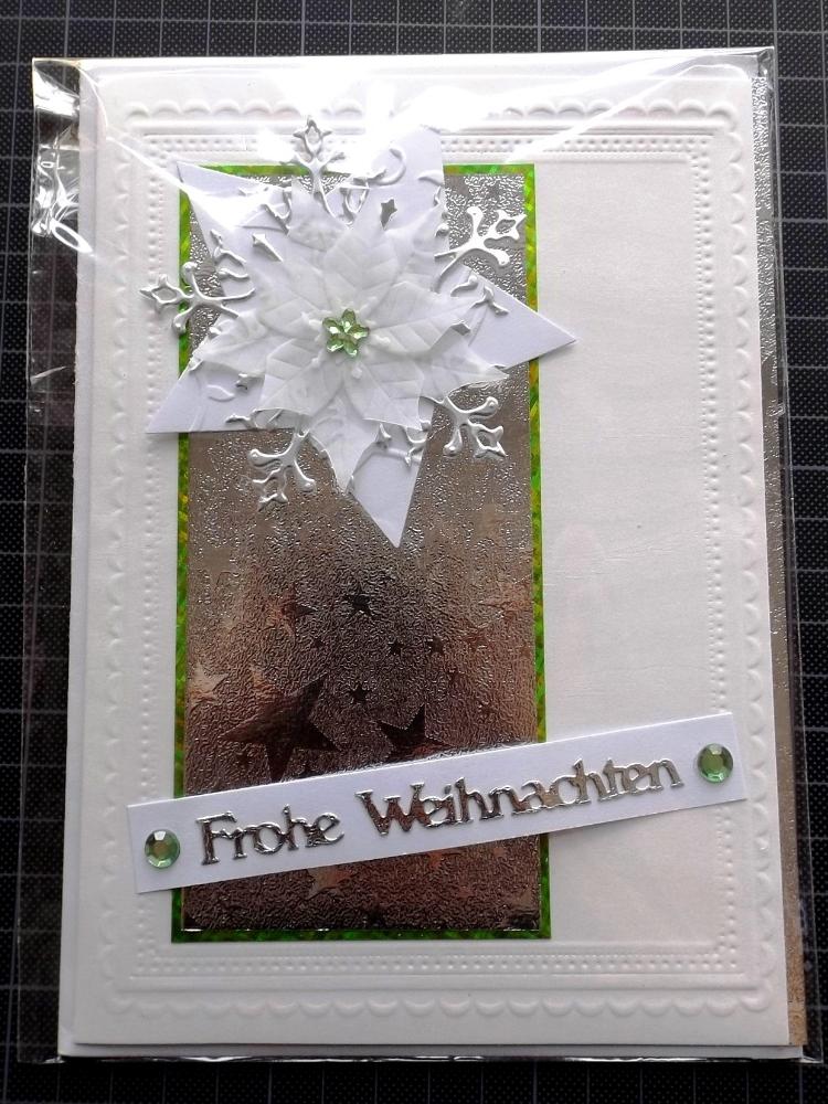 Kleinesbild - Weihnachtskarte in Weiß mit Silber