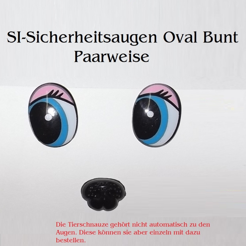 Kleinesbild - Teddy-Augen Sicherheitsaugen Groß Oval Bunt Plüschtier-Augen 23x16 mm